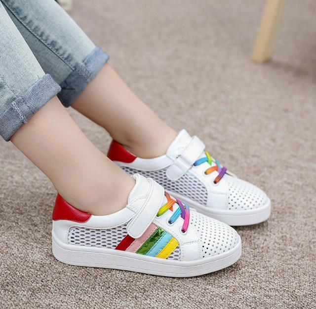 Primavera Verano 2016 Zapatos de Los Deportes de Ocio de Malla Transpirable Zapatos de Las Muchachas Del Arco Iris del padre-niño sandalias Niños Embroma las Zapatillas de deporte