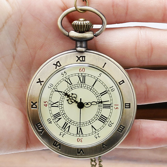 2016 Antique Retro Casual Round Roman Numbers Pendant Necklace Pocket Watch With