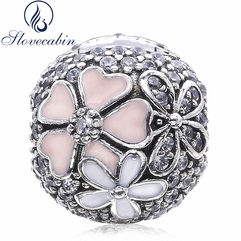 Slovecabin 2017 Spring Authentic 925 Sterling Silver Poetic Blooms CZ Clip Beads Fit Original Pandora Charm Bracelet Diy Make Up