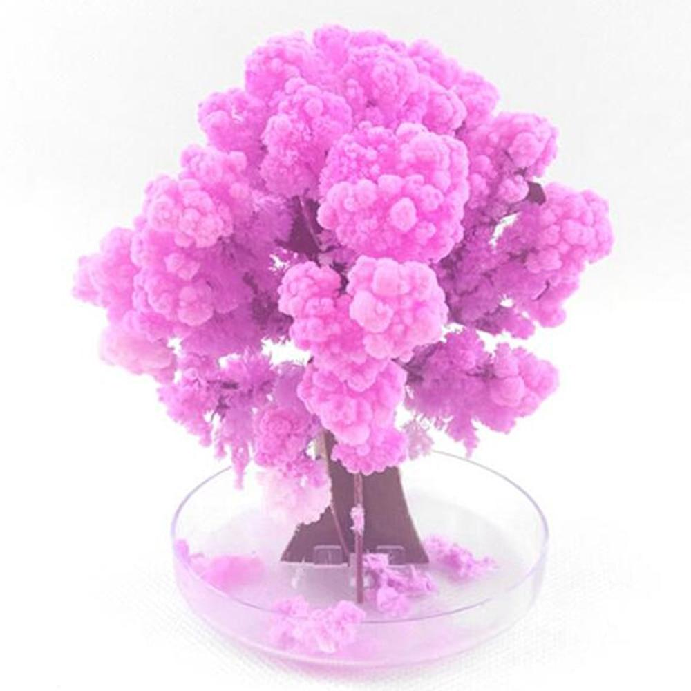 90mm h visual magia artificial sakura árvores decorativo crescente diy presente da árvore de papel novidade brinquedo do bebê flor quente explorar ciência