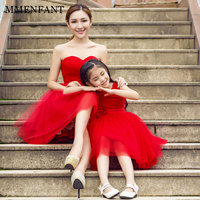 New Fashion 2018 summer Mother Daughter Dress Girl birthday sleeveless red Dresses baby Girls Clothing Family Matching Outfits