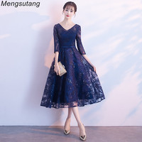 Robe de soiree New Elegant Navy blue Long Formal Evening Dress with Lace Embroidered Sequin Transparent Shiny Party Prom Dresses