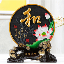 Black Gold Lotus Flowers Round Ornament Home Decoration