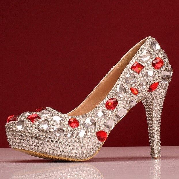 5f85c7ab Zapatos de Boda rhinestone bombas tacones altos para mujer de cristal rojo  y blanco grandes zapatos de tacón alto del dedo del pie puntiagudo  plataforma ...