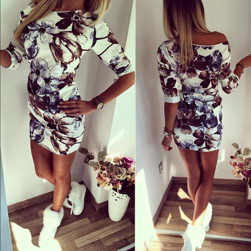 4pcs/pack New fashion Round Neck Middle sleeve Womens Printing flowers Dress wholesale