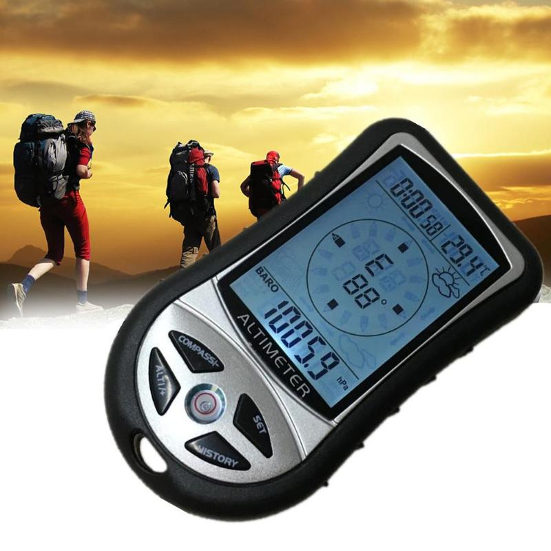 Handheld Digital LCD Display Back 8 in 1 Compass Altimeter Barometer Thermometer Weather Forecast Clock for Hiking