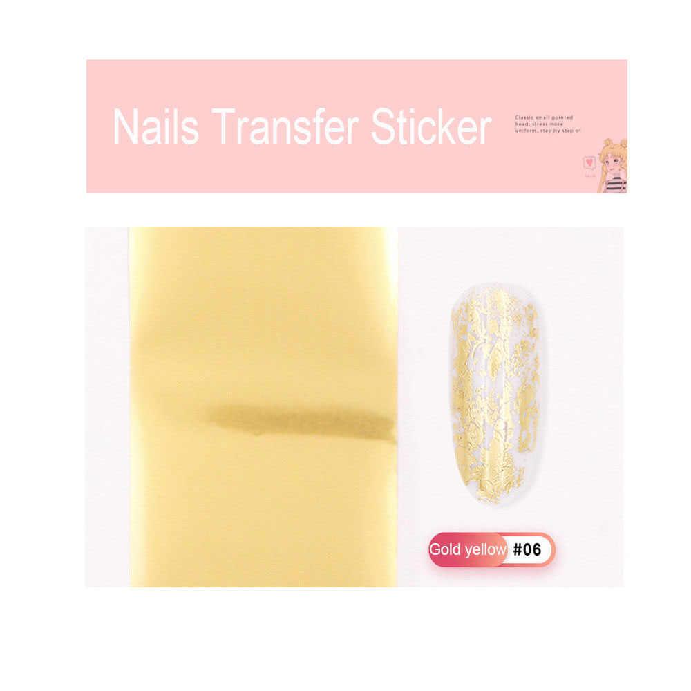 1pc光沢のある女性の箔ゴールドシルバーレーザーマニキュアネイルアート転送ステッカーヒントネイルアートアクセサリーホット販売