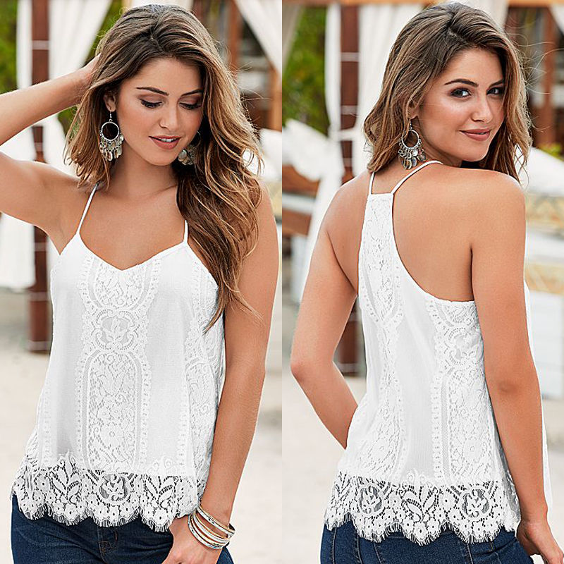 Sexy Womens Blouses Lady Clothing Loose Casual Sleeveless Lace Flower White V Neck Shirts Tops Blouse Ladies Summer Tops
