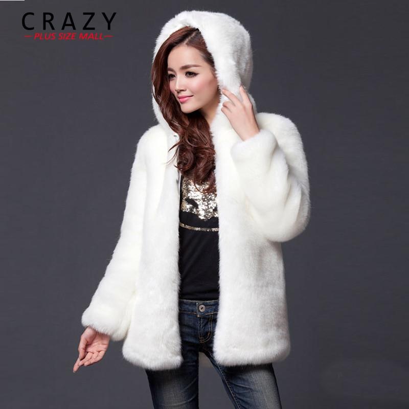 2018 New Plus Size XL XXL XXXL 4XL 5XL 6XL Winter Warm White Faux Fur Coats With a Hood Luxury Fake Fur Coats For Women женское платье brand new 2015 vestidos 5xl s m l xl xxl xxxl 4xl 5xl