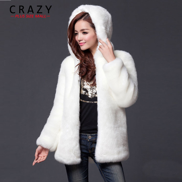 2019 New Plus Size XL XXL XXXL 4XL 5XL 6XL Winter Warm White Faux Fur Coats With a Hood Luxury Fake Fur Coats For Women