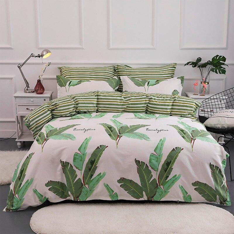 Plantes tropicales Imprimé Housse de couette AB Côté 100% Coton Ensemble de Literie Lits Complet Reine King Size Linge de Lit 3 pcs Draps Doux