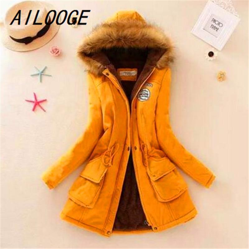 AILOOGE 2017 Women Winter Thicken Warm Coat Female Autumn Hooded Cotton Fur   Basic     Jacket   Outerwear Slim Long Ladies Chaqueta