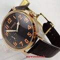 Мужские часы parnis  с черным циферблатом  розовое золото  17 драгоценностей  6497  405  46 мм