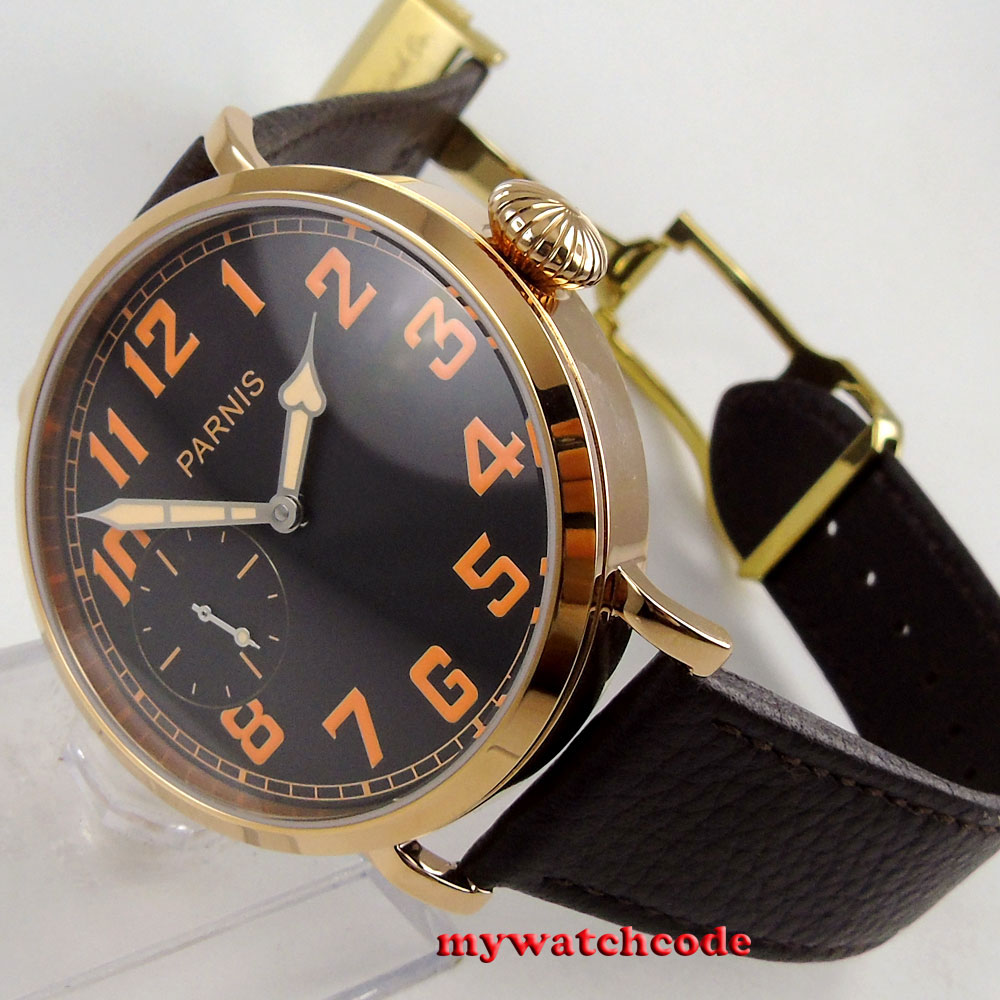 46mm parnis black dial Rose Gold case 17 jewels 6497 hand winding mens watch 405 цена и фото