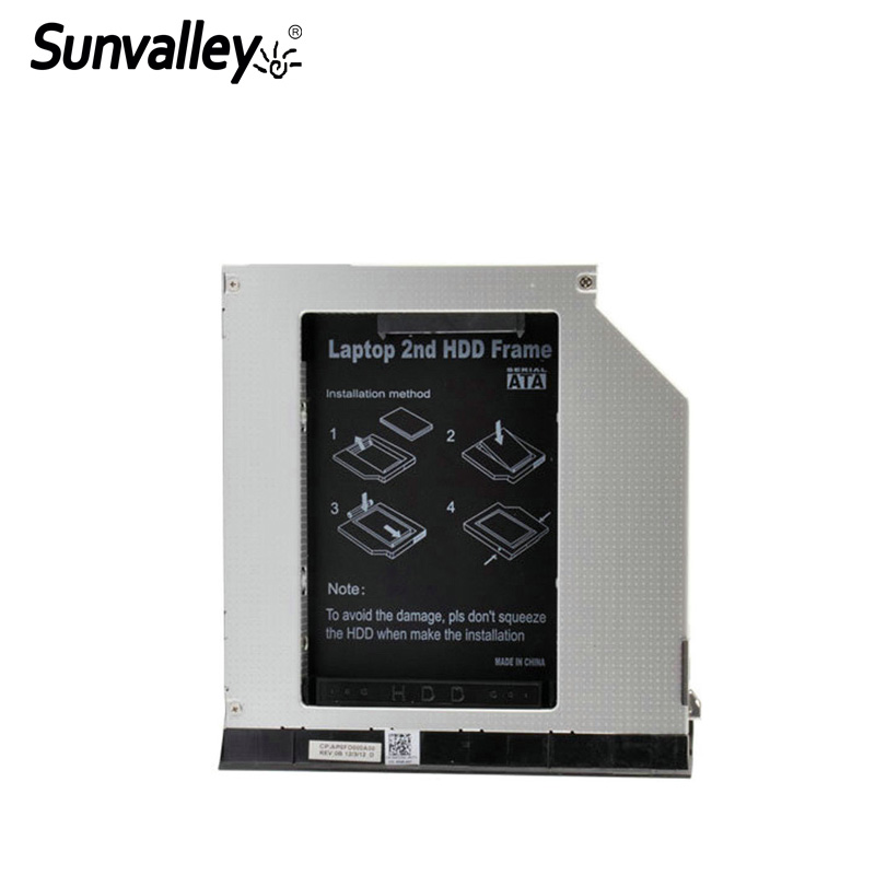 Sunvalley 2nd HDD Enclosure SSD HDD Case 9.5mm SATA to SATA For Dell E6420 E6320 E6520 E6430 E6430s E-series HDE6420-SS