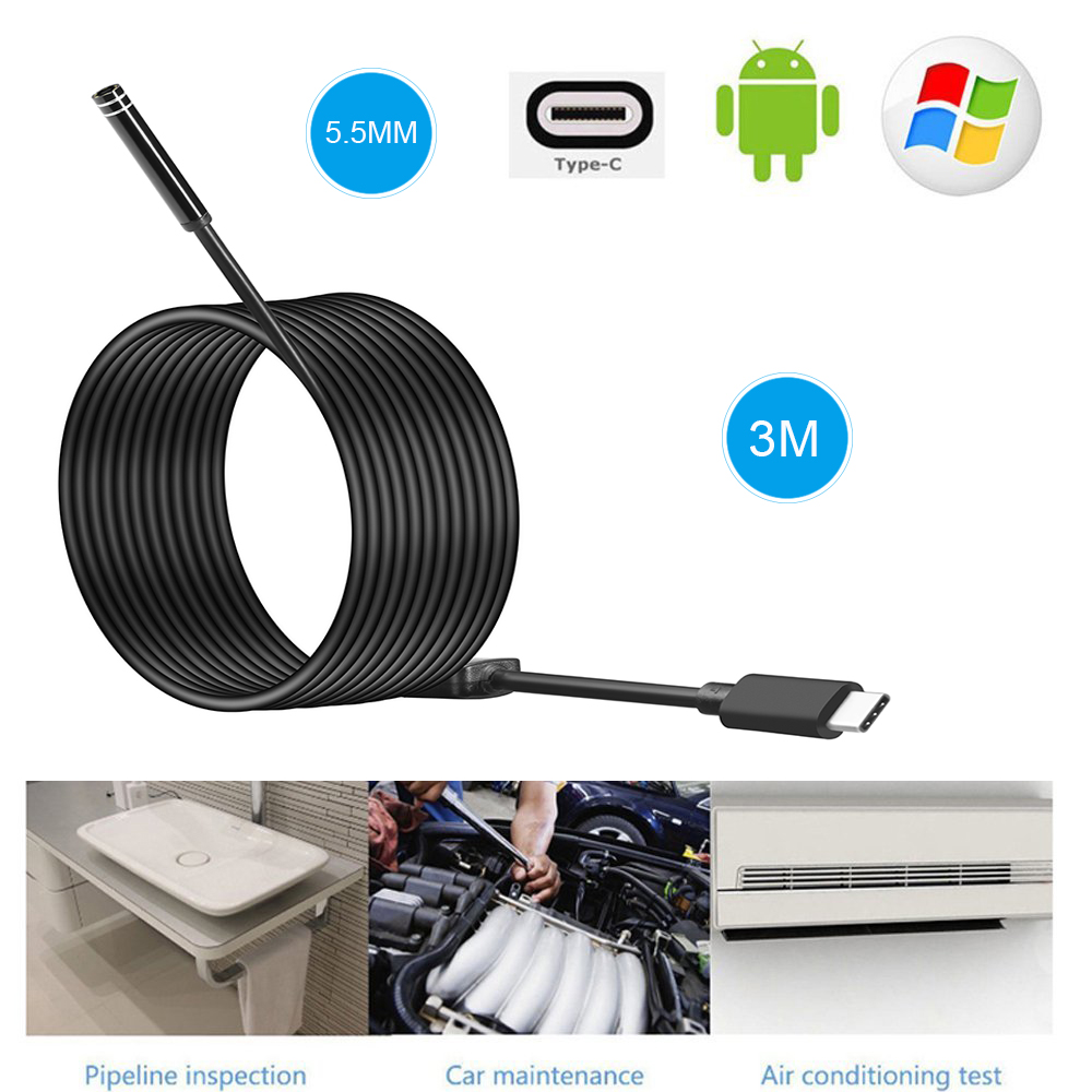 8mm 5.5mm 7mm Len Android HD USB Endoscope  Camera Type C   Inspection Hard Tube Camera PC Android For Huawei Phones Borescope