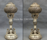 free shipping 00847 13 Tibet Silver Fly BAT Dragon Head Statue Buddhism Up Incense Burner Censer