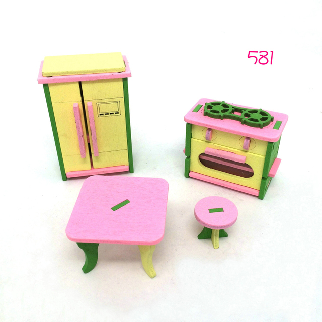 US $21 0 |6sets/lot Mini Furniture Wooden Miniature 3d Model pig family  kids Educational Toys Play House set Christmas gift for children-in  Furniture