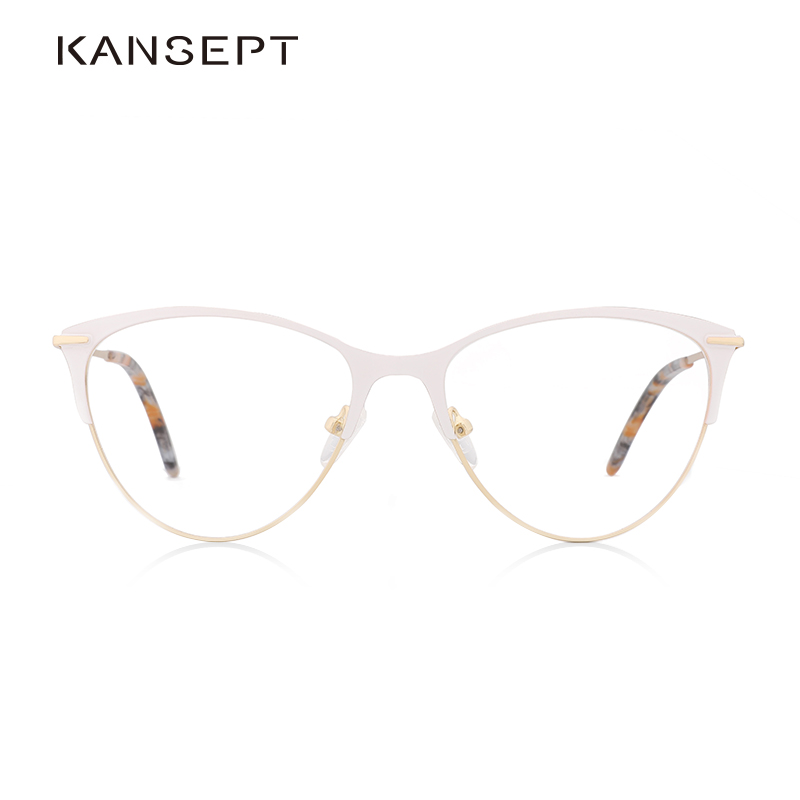 Metal Glasses Frame For Women Prescription Optical Cat Eye Eyeglasses Frame White Popular Eyewear High Quality#3751