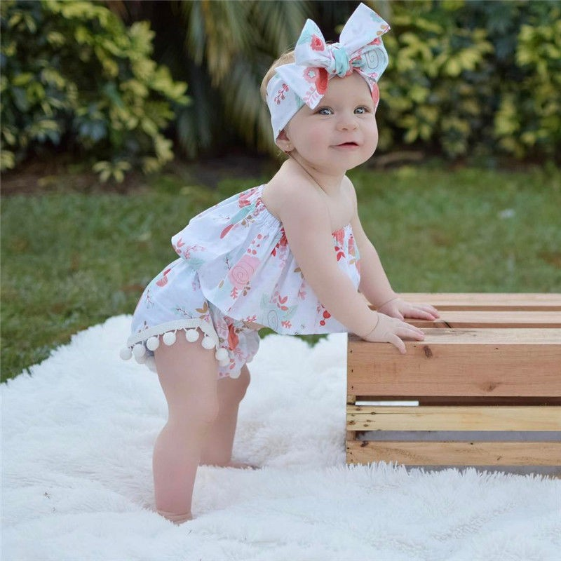 Infant Lovely Newborn Baby Girls Strapless Floral Crop Top +PP Pants+ Headband Outfits 3PcsSet
