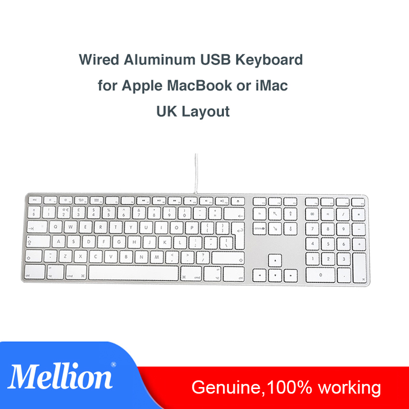 Aluminum Wired USB A1243 Laptop Keyboard with 10 Key Numeric Keypad MB110LL A for All iMac