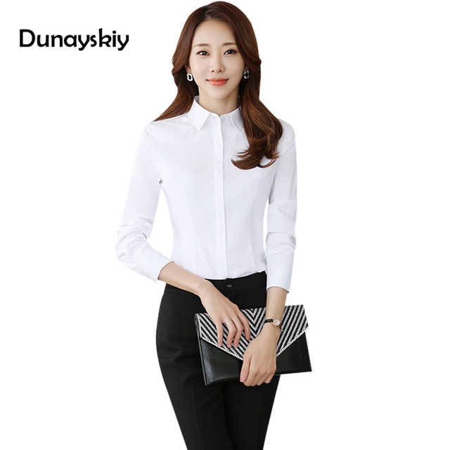 7a94694fabb US $15.99 |New Slim Office Ladies Tops And Blouse Long Sleeve Solid Work  White Formal Shirt Woman Cheap Clothes China Plus Size S 4Xl Gray -in  Blouses ...