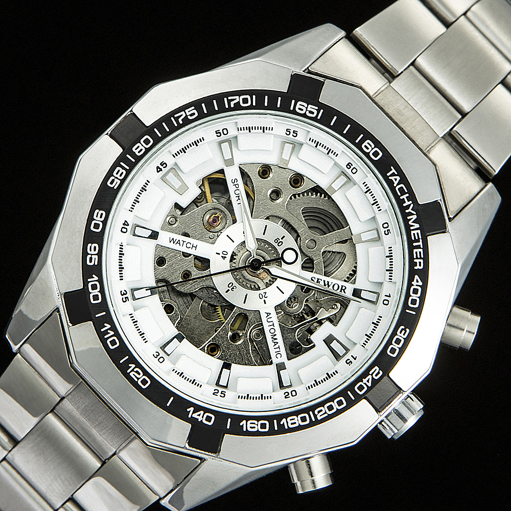 SEWOR 2019 vysoce kvalitní kovové hodinky pásky automatické - Pánské hodinky