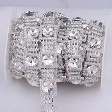 10Yards Costume Applique Clear Square Crystal Rhinestone Trim Silver Chain Sew On Rhinestones Wedding Cake Decoration AIWUJIA