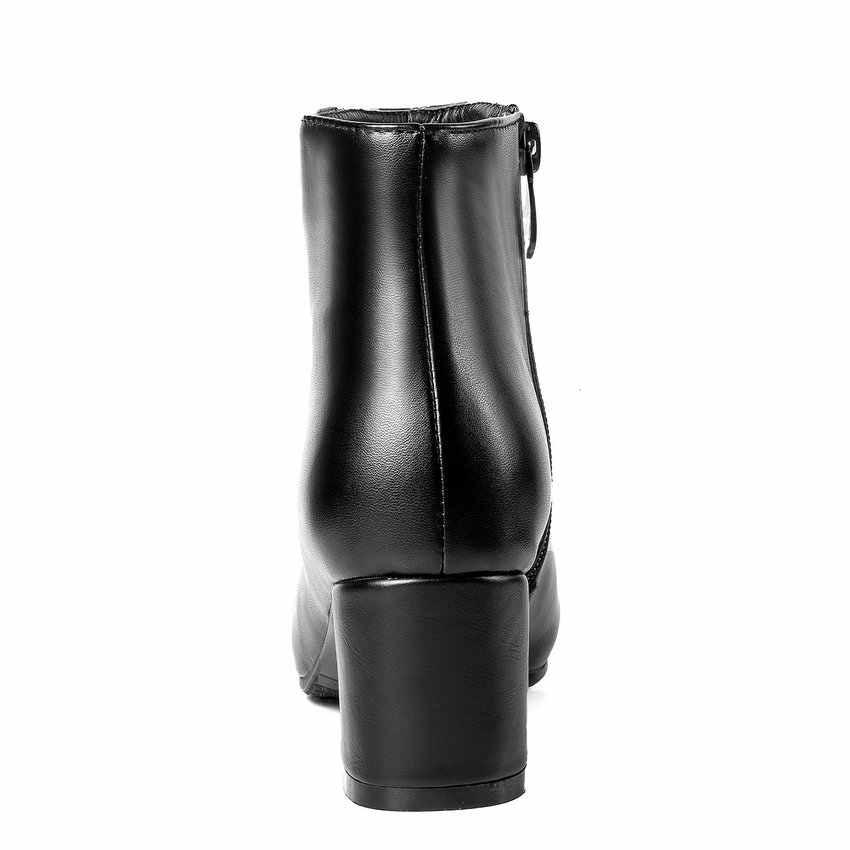 QUTAA 2019 Kadın yarım çizmeler Moda Kadın Ayakkabı Kare Yüksek Topuk Moda Siyah Kışlık Botlar Fermuar Kadın Botları Boyutu 34- 43