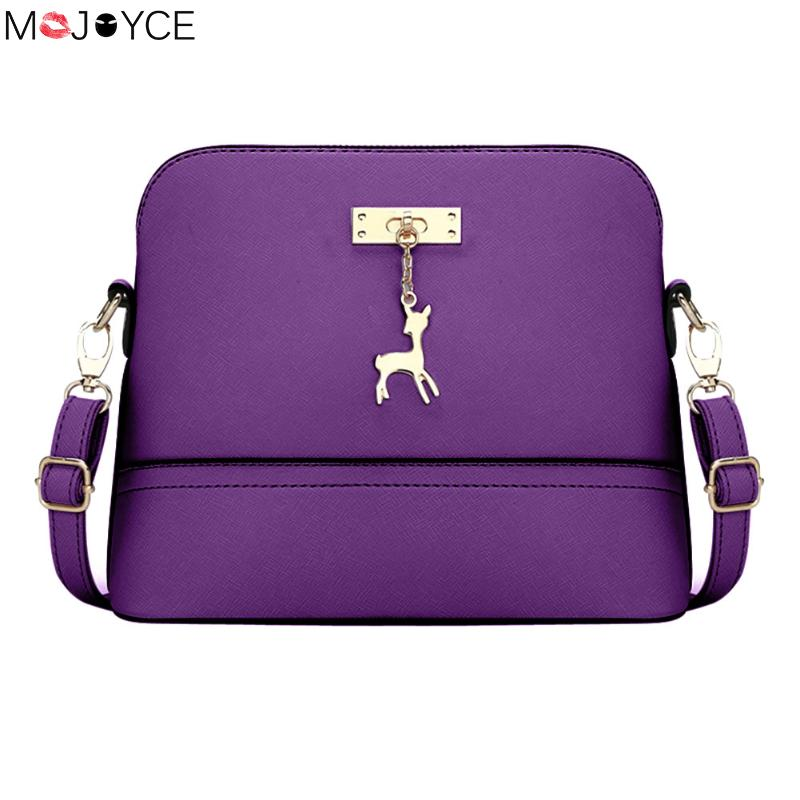 2018 Women Messenger Bags with Deer Toy Hollow Out bolsa feminina bolso mujer Mini Bag Crossbody Bags for Women Shell Bag Violet mini gray shaggy deer pvc quilted chain bag with cover real picture