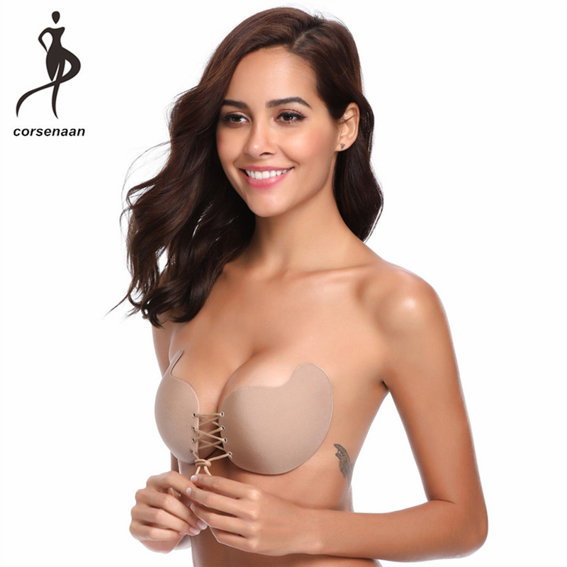 Reusable Sexy Mango Shape Self Adhesive Strapless Silicone Bras Deep V-shaped Backless Breast Pad Invisible Push-up Bra 9003#