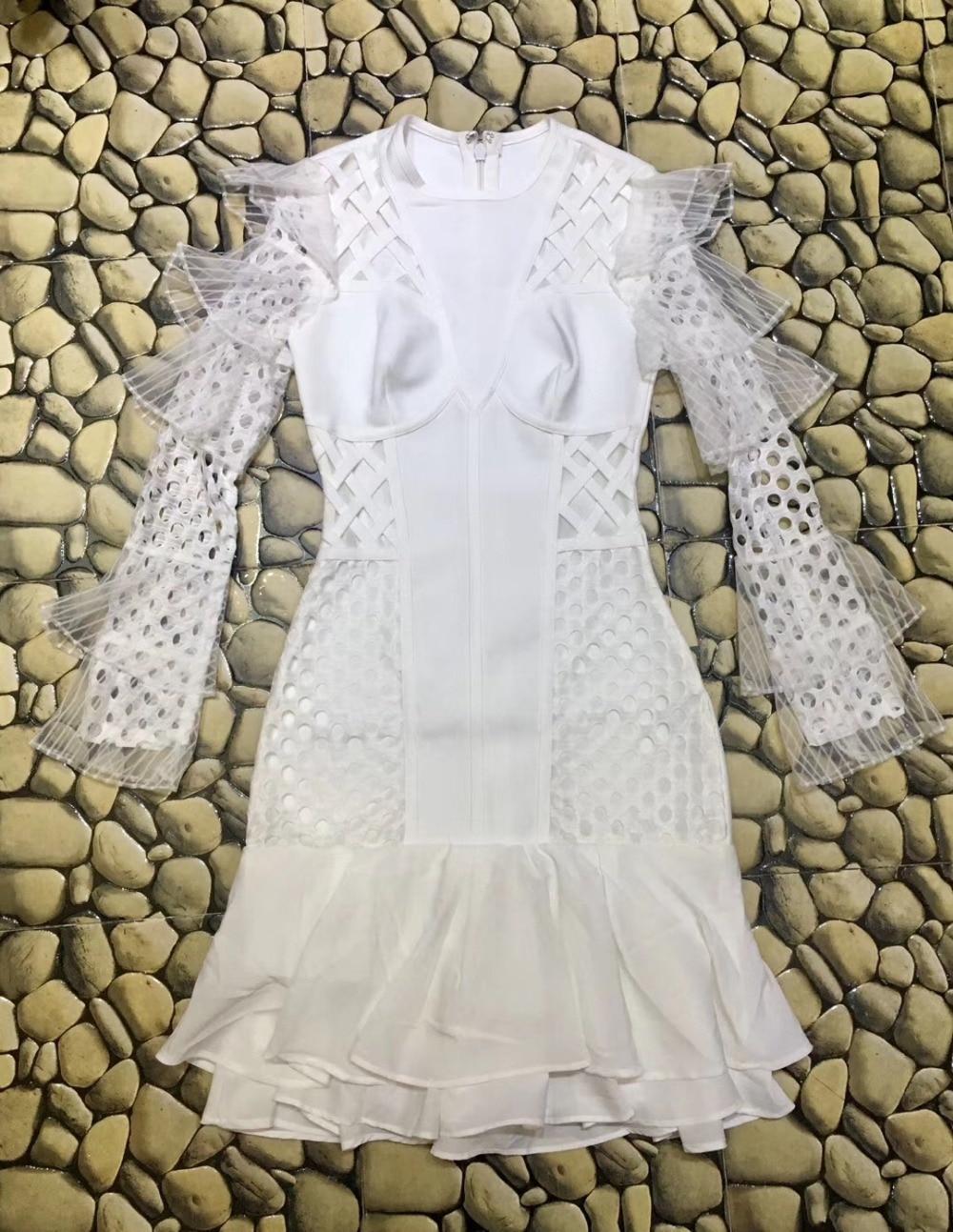 Partie Haute Maille Aline Blanc Manches Longue Celebrity Bandage Mode Soirée Rayonne Qualité Robe De UnOHUprxR