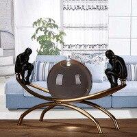 Сидит на металлическом каркасе Thinker по обеим сторонам), украшение для комнаты, Европейский для дома, комнаты, офиса и милые; с бронза хрусталь