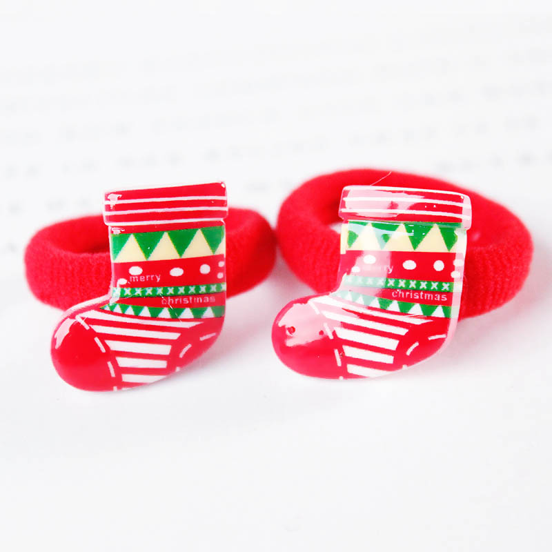 2PCS/ Pairs Of Fashion Girls Lovely  Popular Christmas Hair Strings Snowman  Children's Elastic Hair Adornment 5