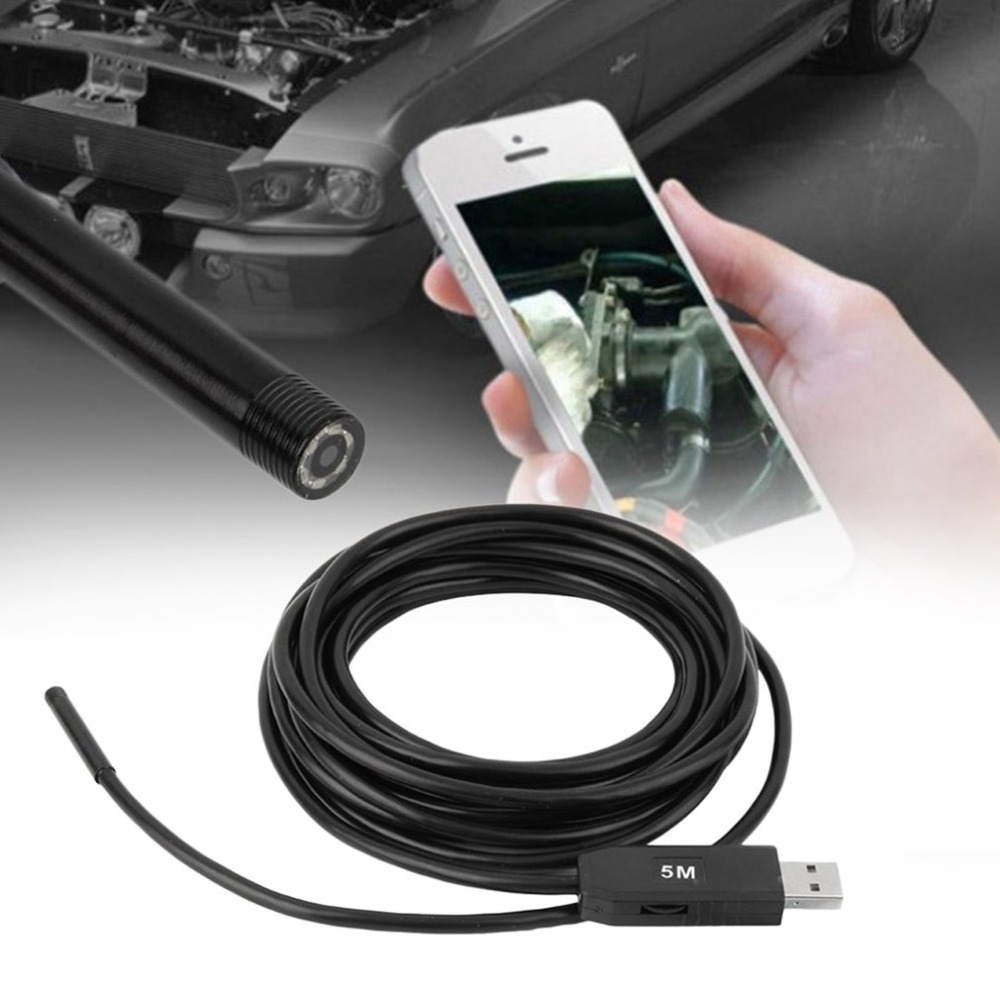 5M 5.5mm Lens Rigid Cable USB Waterproof Endoscope Inspection Mini Camera IP67 Snake Tube With 6 LED Borescope For PC Android supereyes 50x 3 5 monitor videoscope 9mm diameter 800mm snake tube waterproof borescope endoscope camera with led inspection