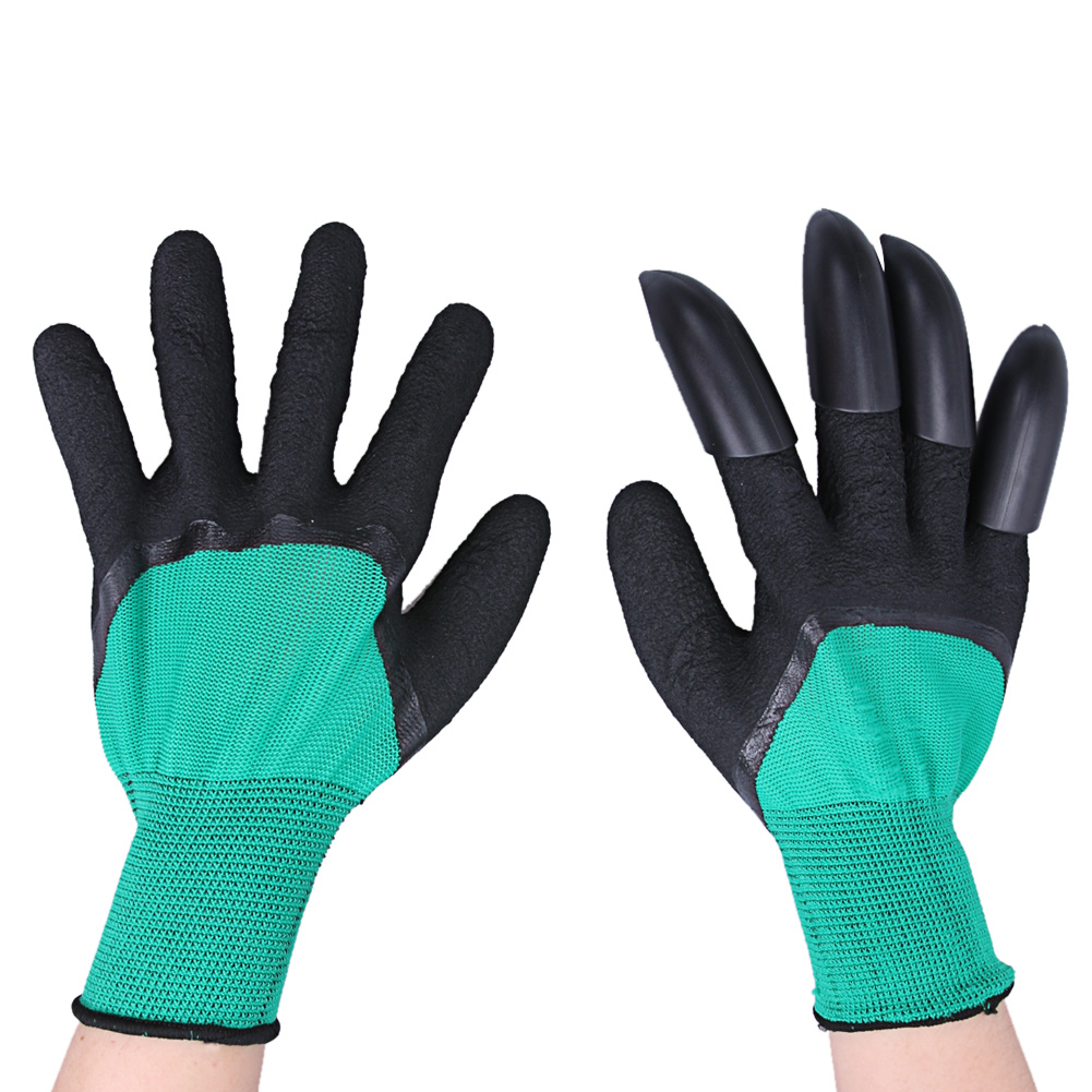 Black gardening gloves - 1 Pair Garden Gloves Rubber Polyester Builders 4 Abs Plastic Claws Garden Digging Planting Latex Gloves
