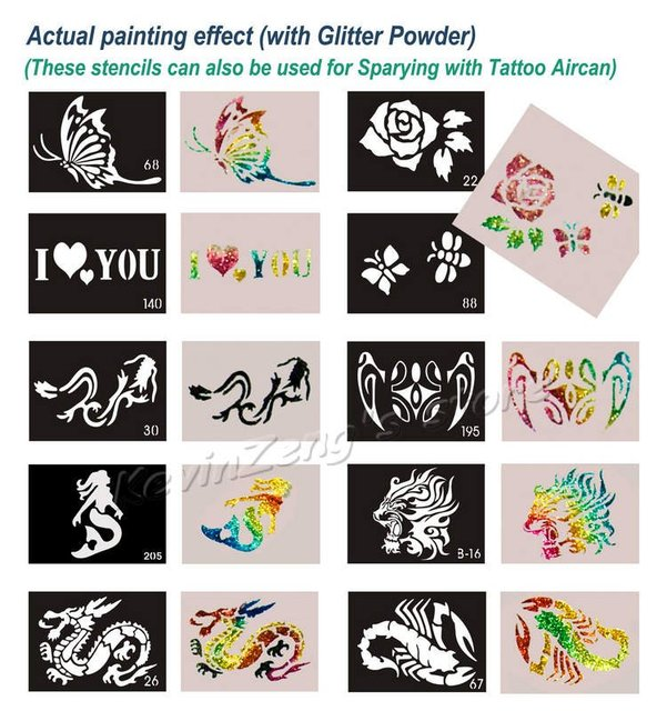 100pcs Big Size (21x15cm) Tattoo Stencils for Body art Painting - Temporary Glitter Tattoo Kit - Mixed designs - Free shipping