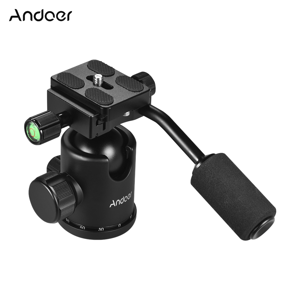 Andoer Handle Tripod Ball Head 360 Degree Rotating Panoramic Ballhead with 1/4 3/8in Screw Hole for DSLR Camera Max. 15kg Load