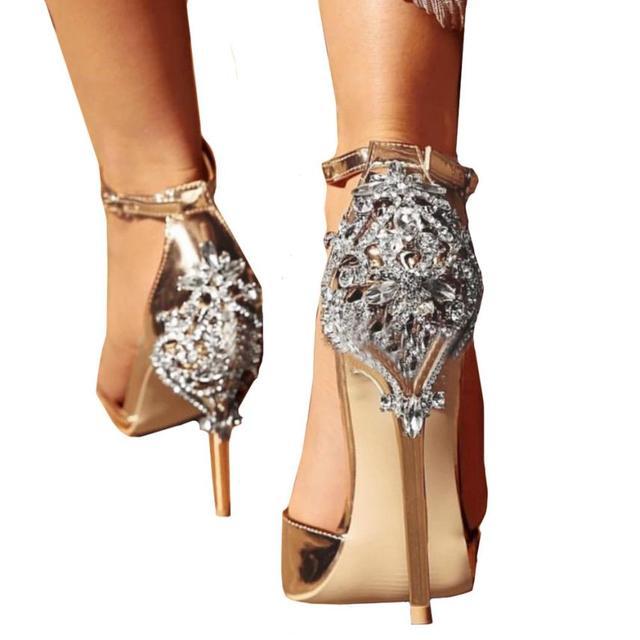 2018 Summer Women Luxury Diamond Sandals Bohemia Sandals Super High Heel  Sandals Party Wedding Gold Sandals Slippers   AA 56ffbf003fbd