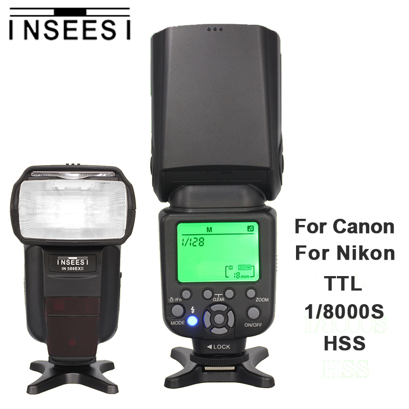 INSEESI IN 586EX II TTL HSS 1/8000s Camera Speedlite Flash For Canon Nikon DSLR Camera VS Triopo TR-586EX YONGNUO YN568EX for nikon canon dslr camera speedlite hss 1 8000s ttl flash speedlight inseesi in586exii vs yongnuo yn565ex yn568ex yn 565ex