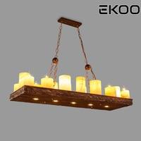 EKOO 220v16 Light Vintage Industrial Retro Wood E14 Chandelier Iron Lamp Industrial Rustic Light for restaurant bar Living Room