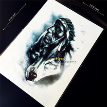 1PC New Design 3D Indian Warrior Man Temporary Tattoo Sticker Wolf Women Body Art Arm Sleeve Large Fake Flash Waterproof Tattoo