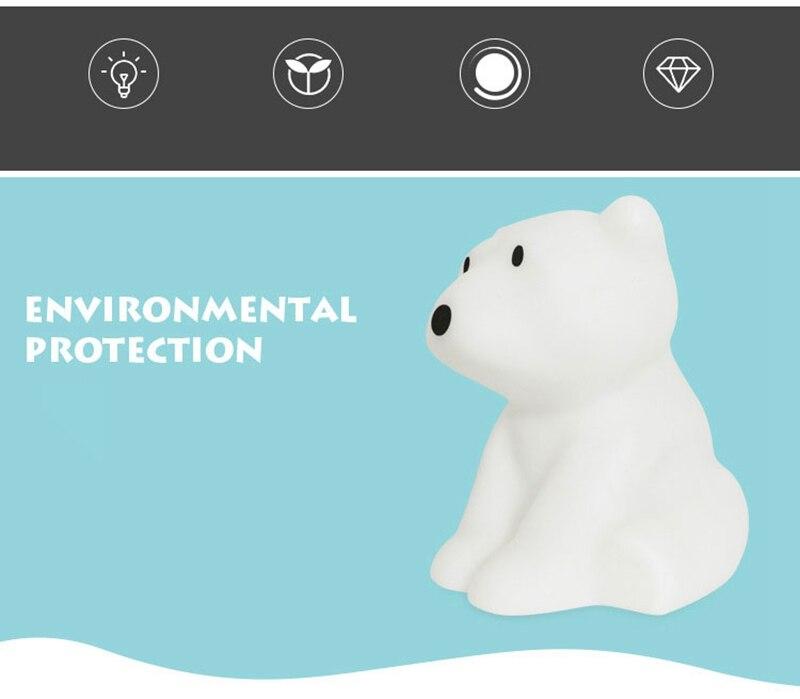 Polar Bear LED Night Light Swivel Dimmable Novel Gift for Kids Sleeping Warm White Baby Lamp Silicone Indoor Decoration Light (5)