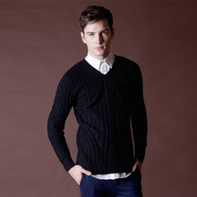 Men's Sweater Patterns Winter New V-Neck Sweater Thick British Style Wool Sweater Brown Solid Color Black Puloveres Masculinos