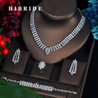 HIBRIDE New Luxury Cubic Zirconia Turkish Jewelry Sets For Bride 4PCS Earrings Necklace Pendientes Mujer Moda Jewelry N 609