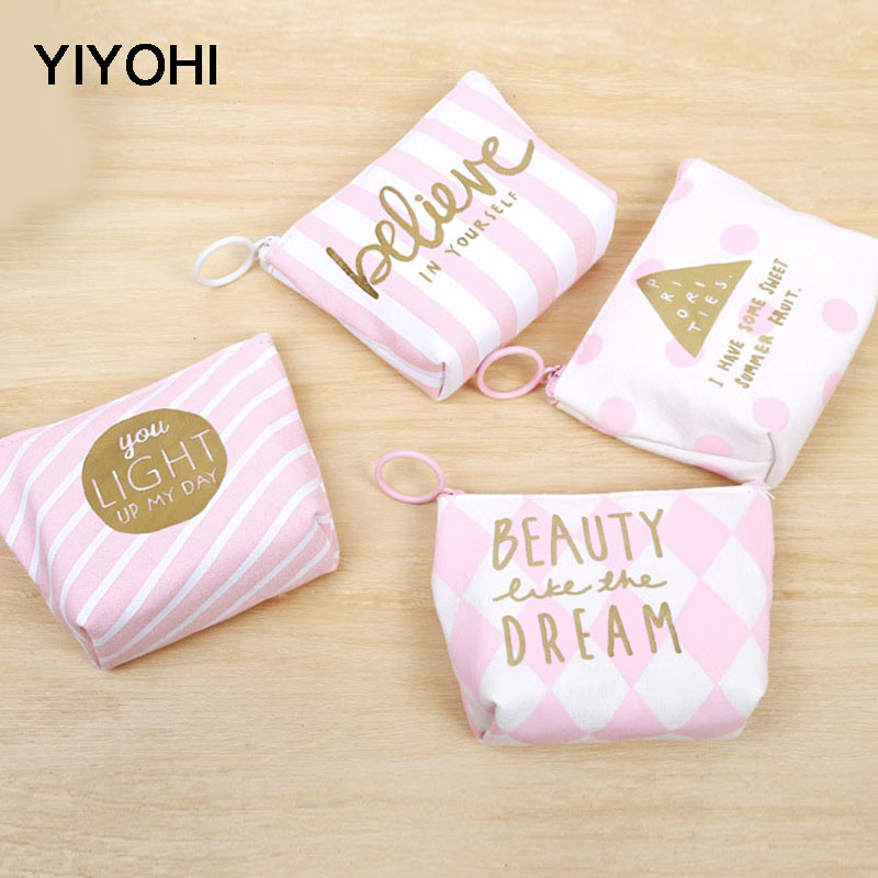 YIYOHI High Quality Beautiful Pink Canvas Grils Lovely Zipper Plush Square Coin Purse Kawaii Children Money Bag Women Wallets ...