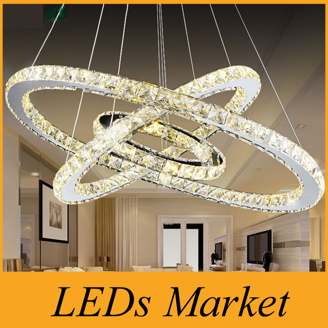 Led Chandelier 3 Ring Crystal Light Fixture Suspension Lighting Circles Lamp