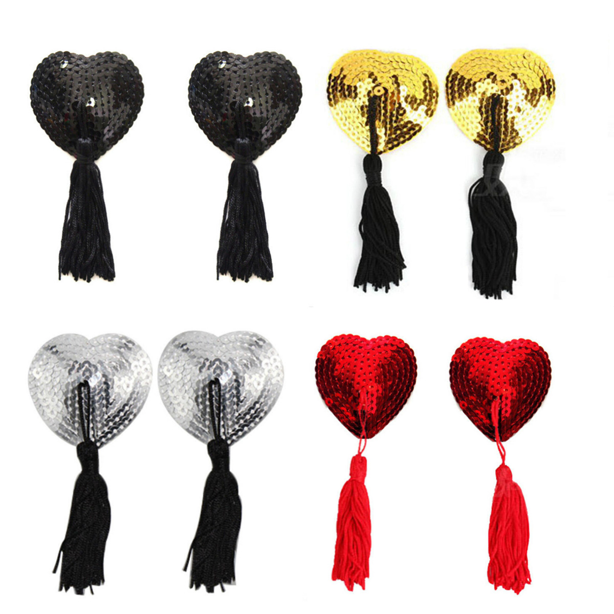 1 Pair  Sexy  Women Lingerie Breast Bra Nipple CoverHeart Shape Sequin Tassel Nipple Stickers Pasties Pasties Stickers