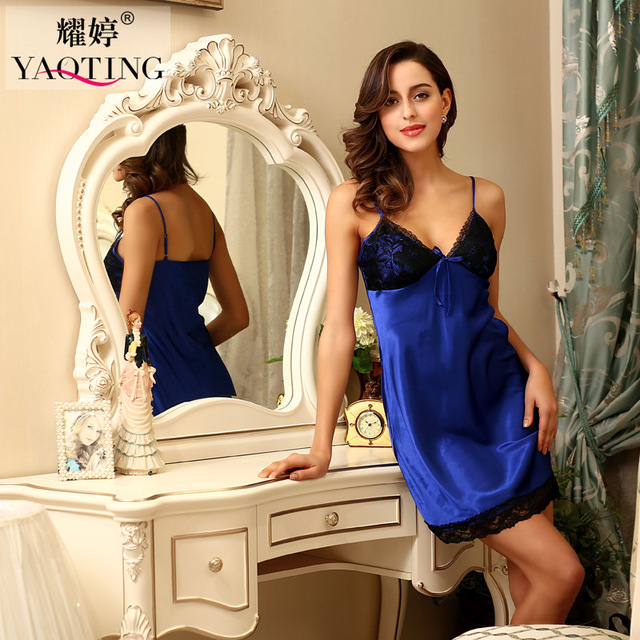 2016 Women Summer Homewear Solid Color Nightgown Sexy Slip Imitation Silk Mini Short Dress Sky Elegant Blue Lace Red Sleepwear