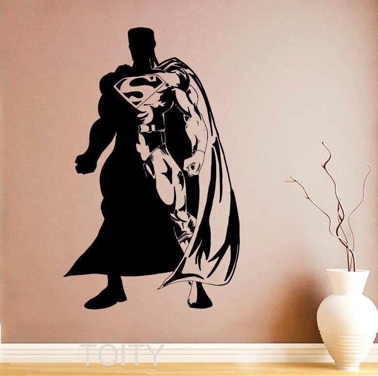 Superhero man wall sticker poster comics decal vinyl nursery kids children room design home - Superman interior designs ...